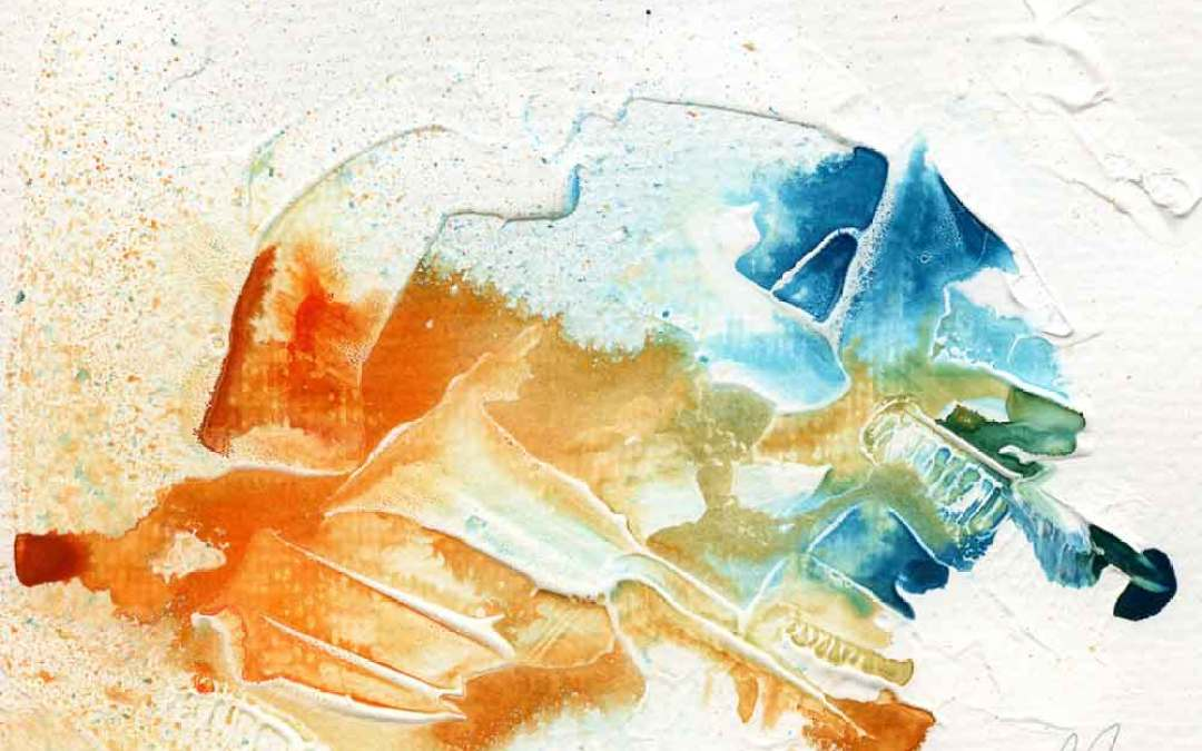 Orange and blue abstract – Daily Painting #1095