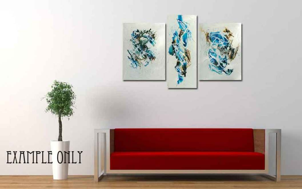 3 abstract canvas paintings Blue and brown – Daily painting #1138