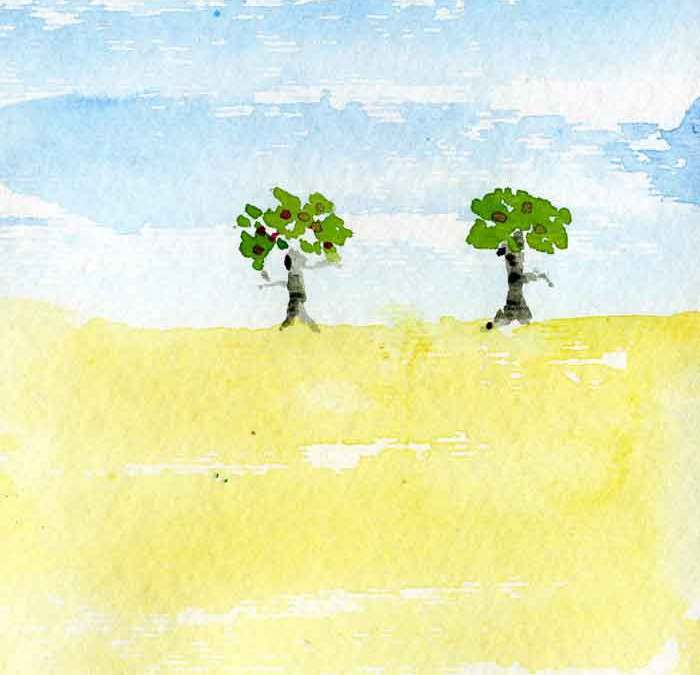 Two trees in a field – Daily painting #1149 (SOLD)
