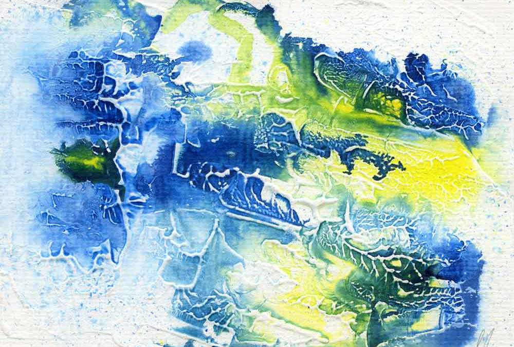 Blue and yellow abstract – Daily painting #1173 (SOLD)