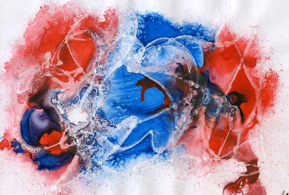 Red and blue abstract on photo paper – Daily painting #1184