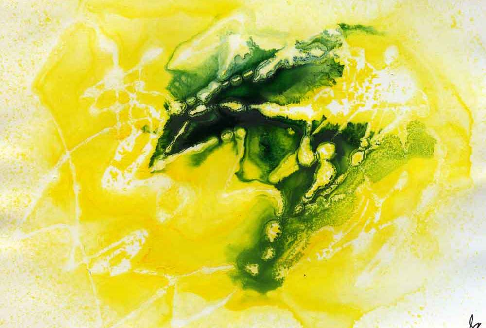 Yellow and green abstract – Daily painting #1236