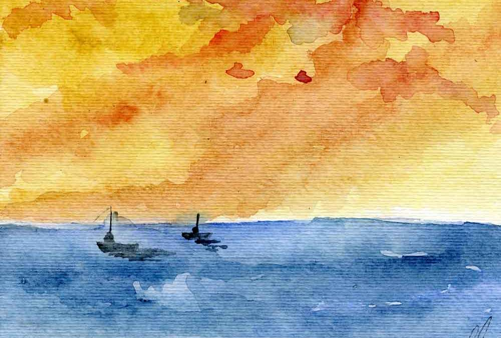 Two boats at sea (#321)