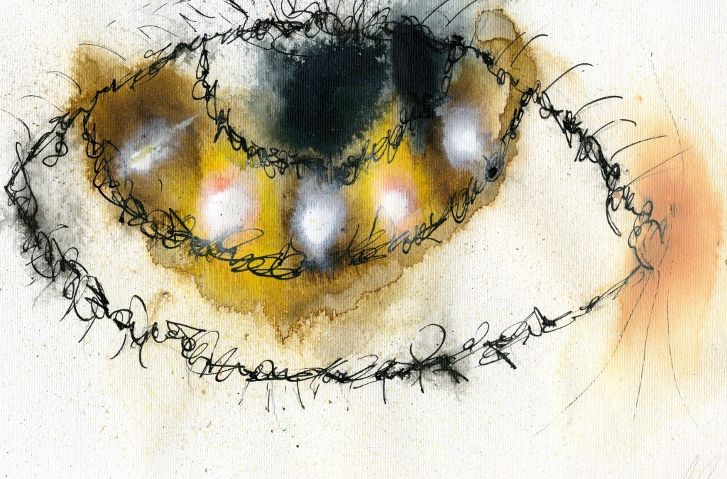 Abstract ink Brown eye (#790)
