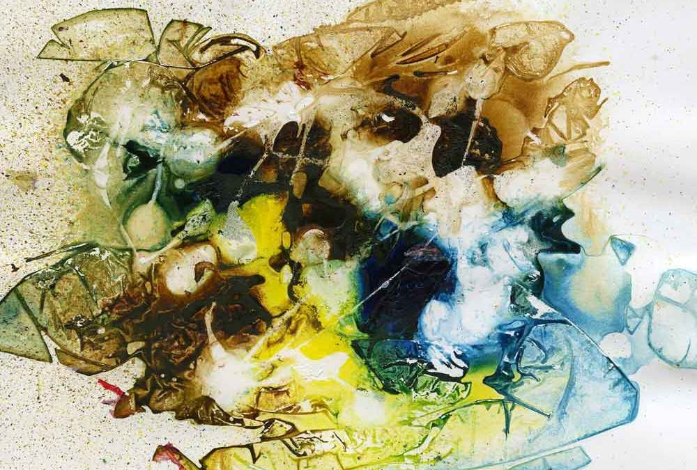 Yellow, brown and blue abstract (#1338)