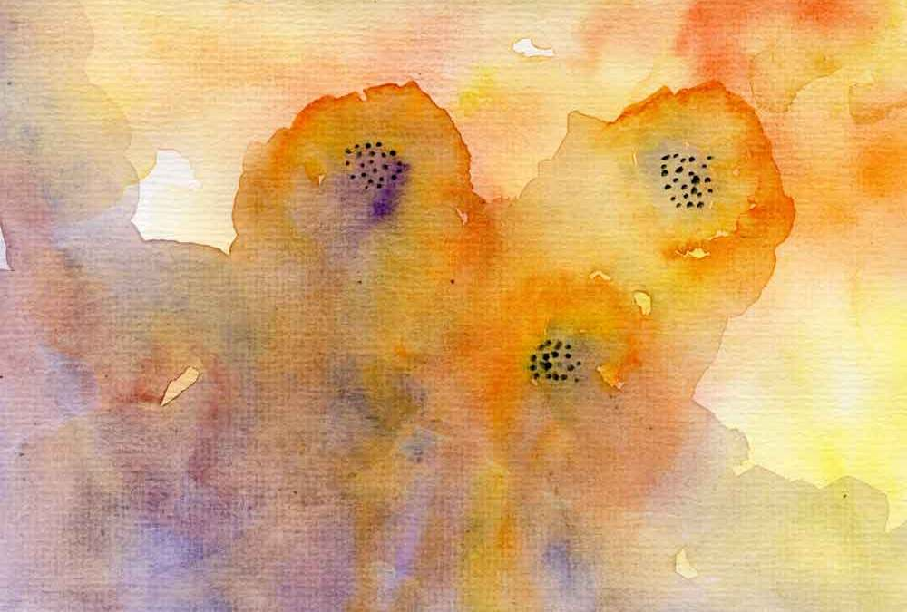 Orange flowers watercolour abstract (#201)