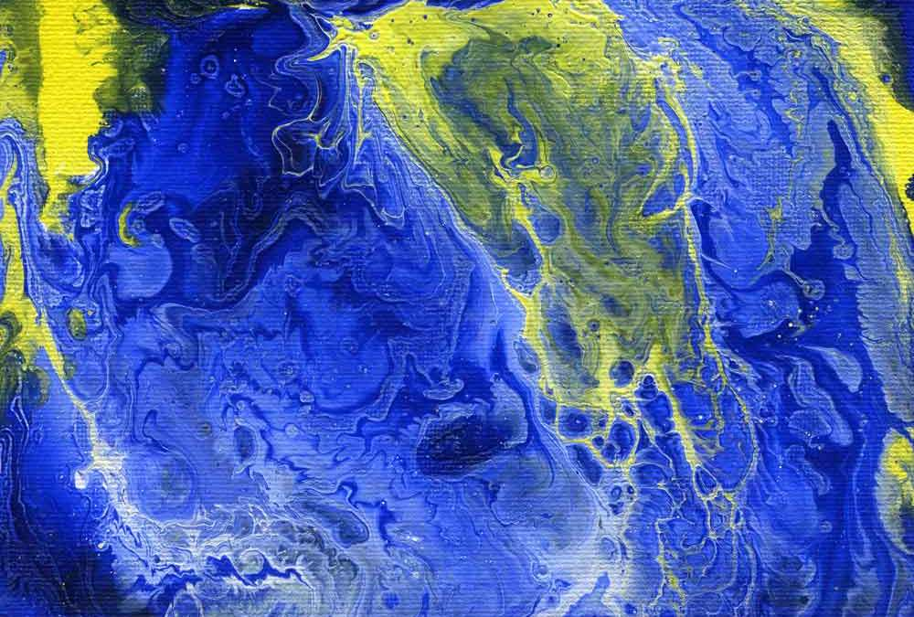 Blue, white and yellow abstract (#1393)