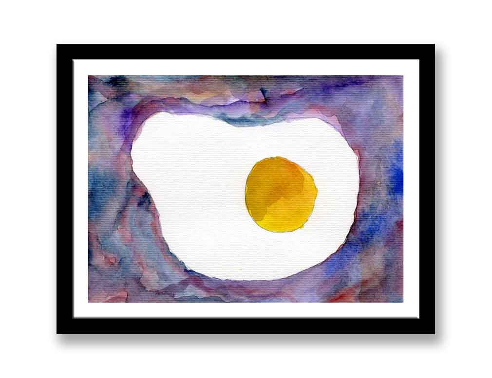 Fried egg abstract painting