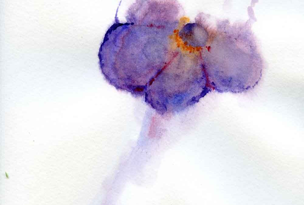 Abstract Purple watercolour flower (#271)