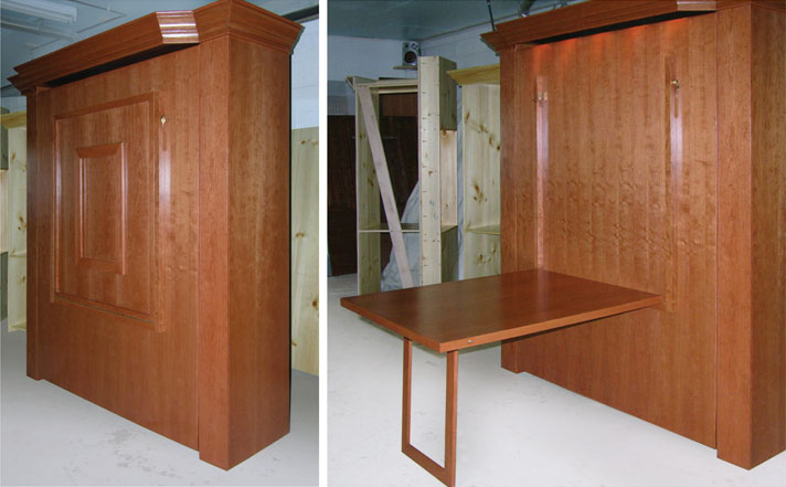 custom murphy bed with table