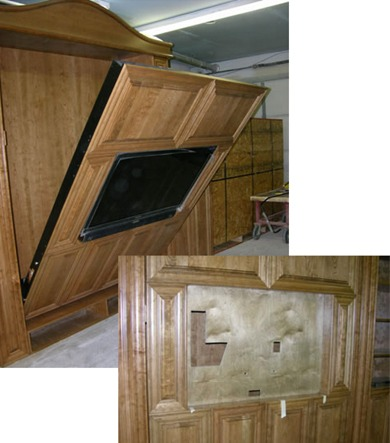 oak mission sofa table london club 92 custom tv murphy beds - television bed flyingbeds