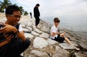 18 Jan - An afternoon to remember - From left: VJ Sithu Zeya, Wathann Film Festival Thaiddhi, Sound Artist Kaffe Matthews, FCP 2013 Day 3, Pulau Semakau Landfill, Singapore