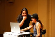 19 Jan, Our Production Manager Valerie and Performance Artist Julie Tolentino meddling with the tech matters , FCP SUPERINTENSE Day 4, 72-13, Singapore