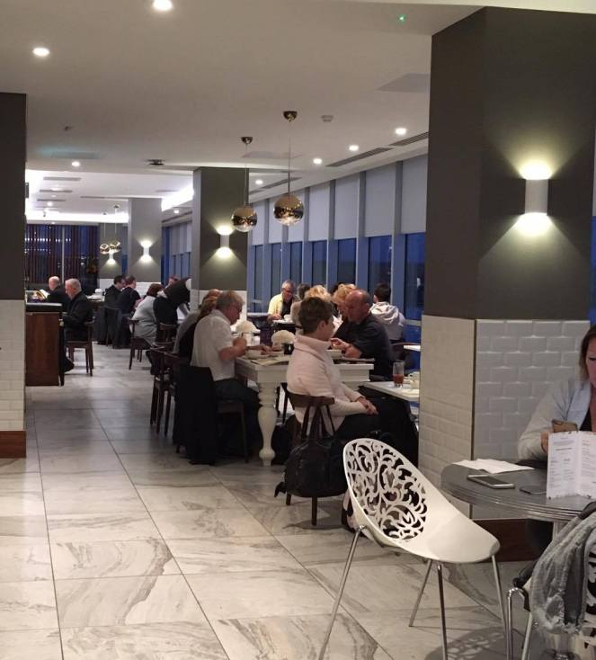 Dining tables in the No1 Traveller Lounge Gatwick North terminal