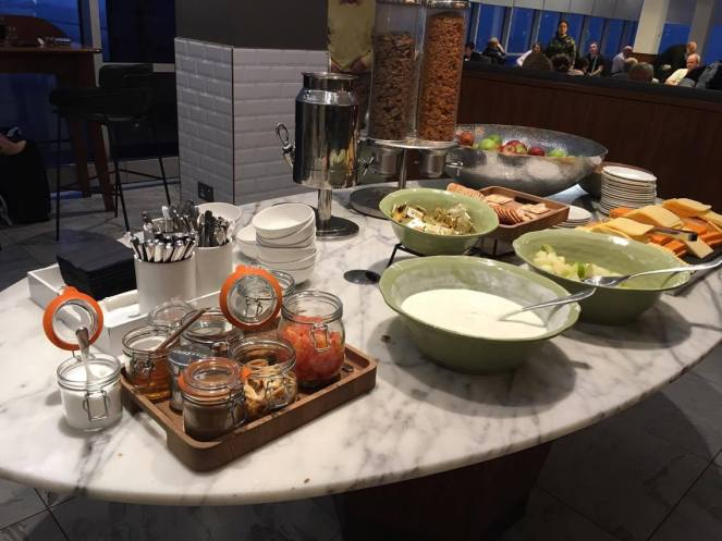 Breakfast food buffet on a marble table in the No1 Traveller Lounge Gatwick North terminal