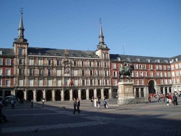 The front of Casa de la Panadería in Plaza Mayor, Madrid, Spain