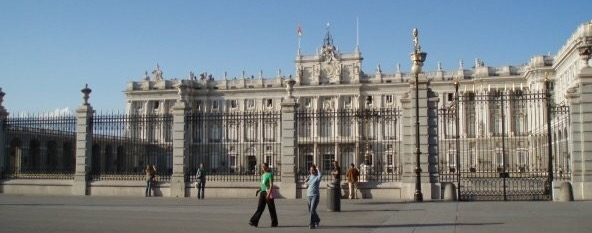 The outside of the Royal Palace of Madrid viewed from Plaza de la Armería, Spain
