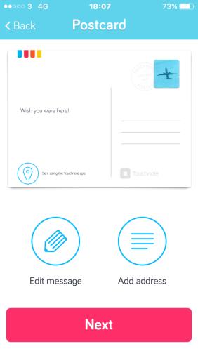 A screenshot of the postacrd creation screen