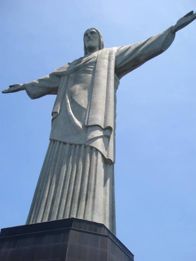 A photo of Christ the Redeemer, Rio de Janeiro, from the front right side