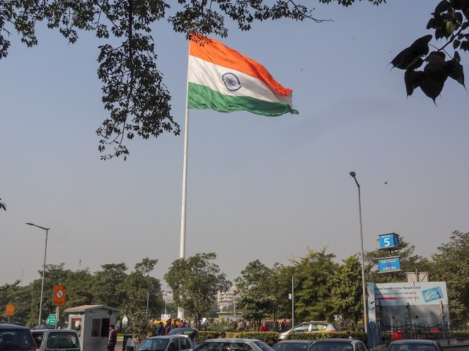 a large Indian flag in Delhi