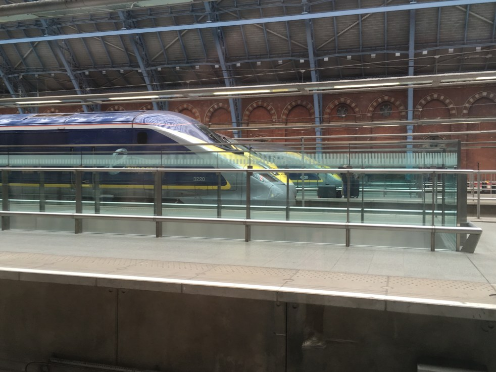 The front of 2 Eurostar trains at St Pancras International Station, London