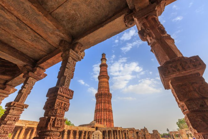 red brick of Qutub Minar Minaret, Delhi, India