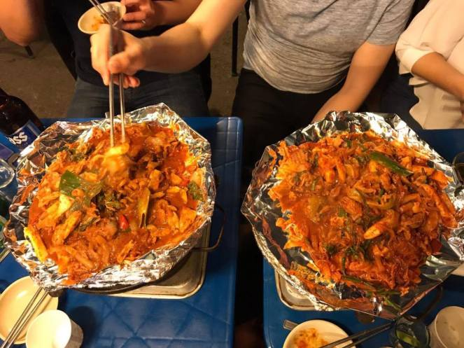 2 large South Korean dishes stir fried on foil, Chang Dong, Seoul