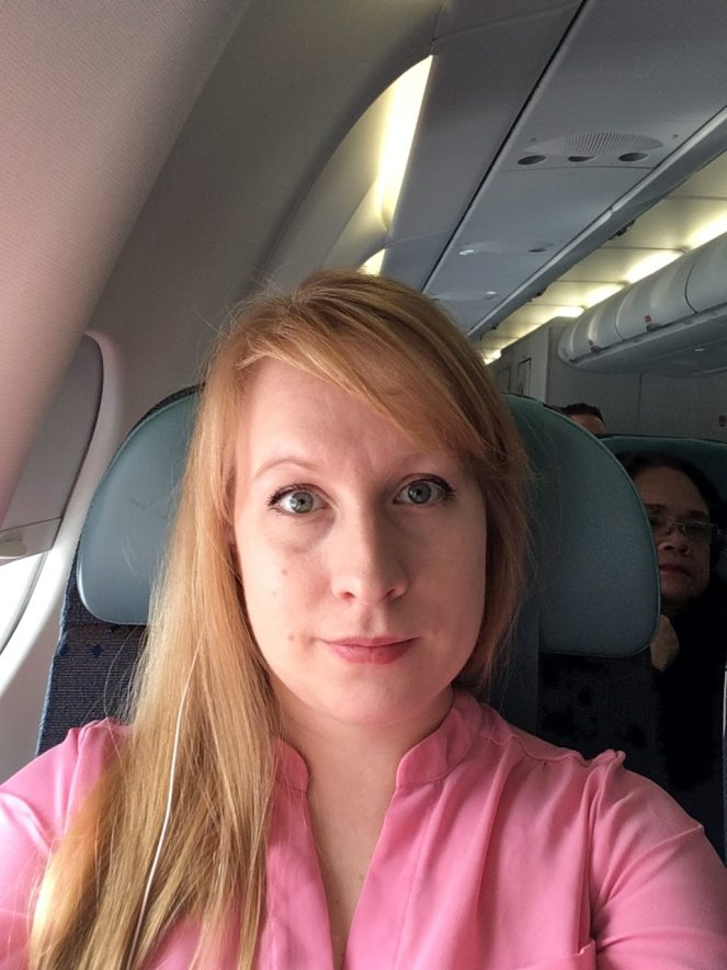 A selfie showing the head rest down
