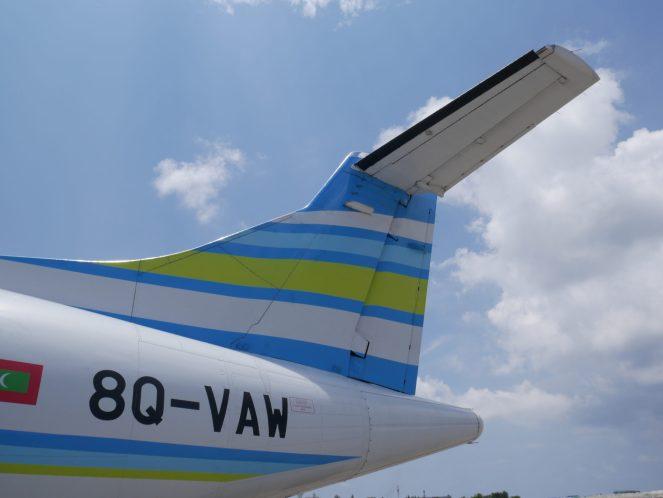 Tailfin of Flyme ATR 72-500 plane