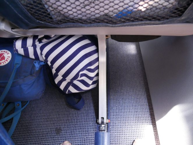 Under the seat of Flyme ATR 72-500 plane