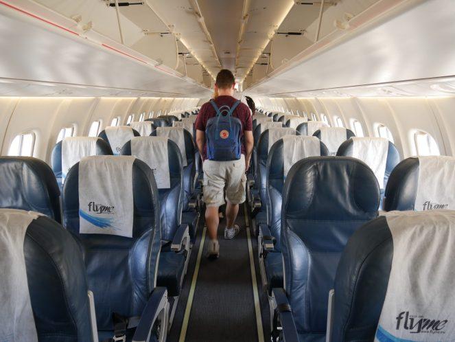 Interior of Flyme ATR 72-500 plane