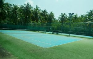 blue tennis court at the gym at Kihaa Maldives