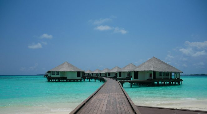Water villas and a pier at Kihaa Maldives
