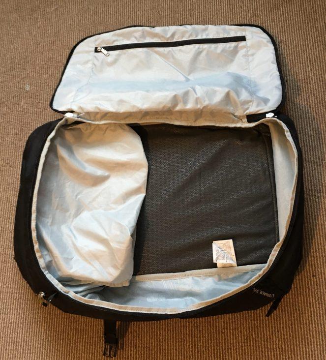 The inside of a black Kathmandu Litehaul 38L Backpack