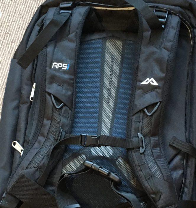 The straps on the back of a black Kathmandu Litehaul 38L Backpack