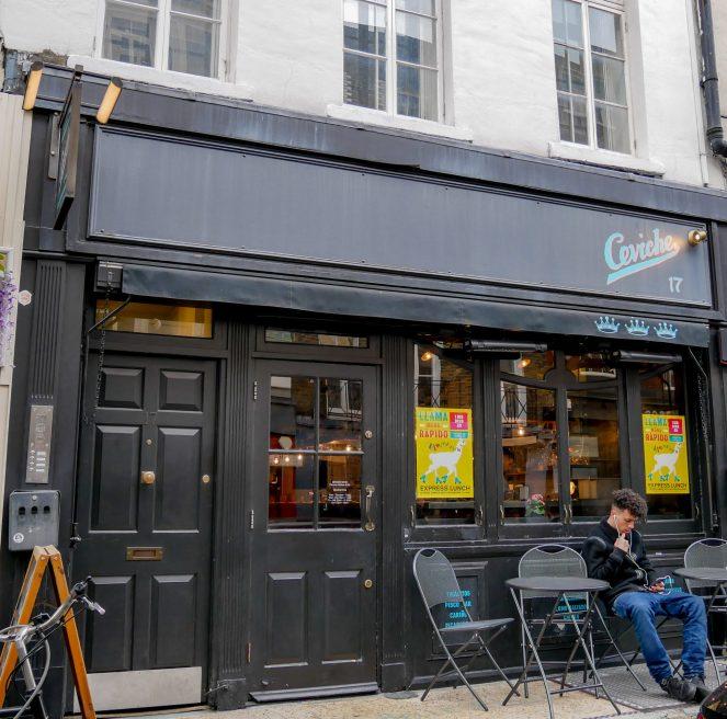 The black outside of Ceviche Peruvian restaurant, 17 Frith Street, Soho, London