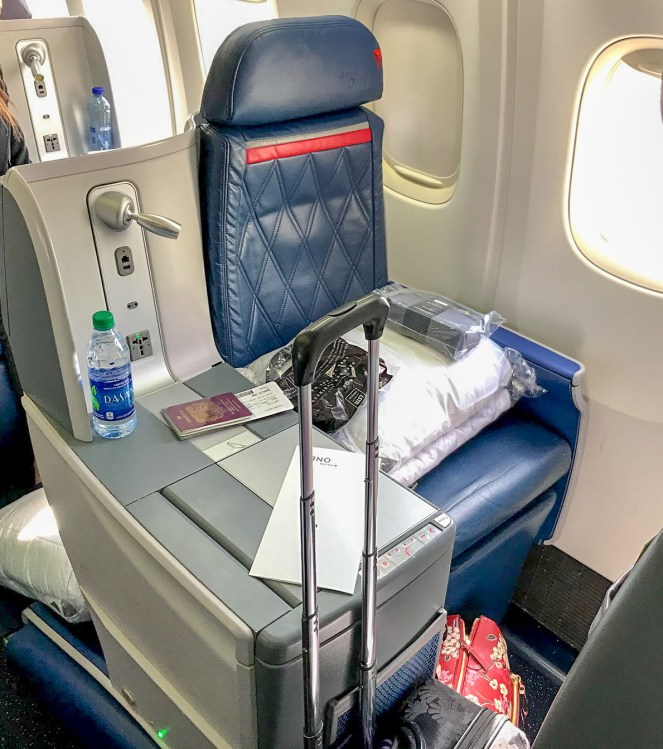 Delta One seat and side table on a Delta Air Lines Boeing 767