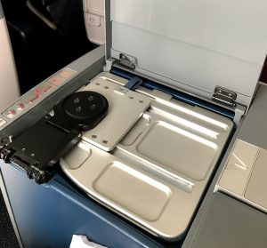 Tray table opening on Delta One Delta Air Lines Boeing 767