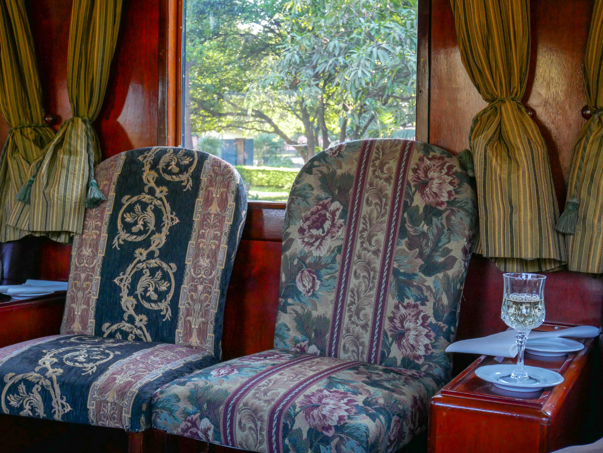 Floral upholstered chair in the Lounge Car of the Royal Livingstone Express train