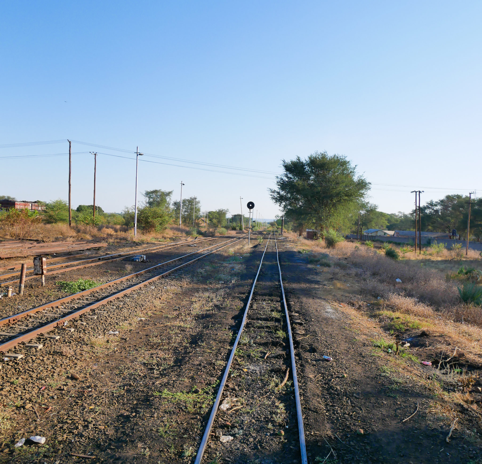 Train tracks along the sidings from the Royal Livingstone Express train
