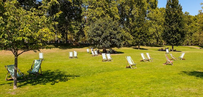Deck chairs on the grass in St James's Park