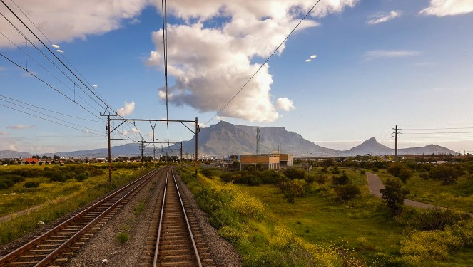 Table mountain viewed from the observation car of The Blue Train
