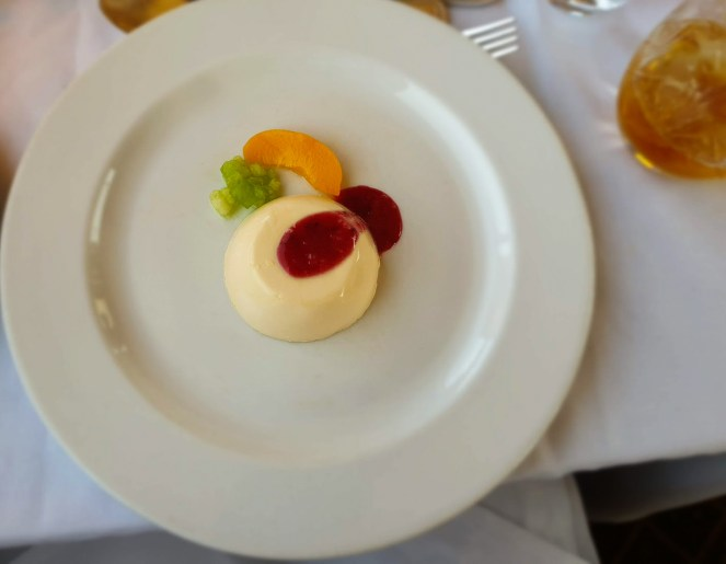 panna cotta for lunch on The Blue Train