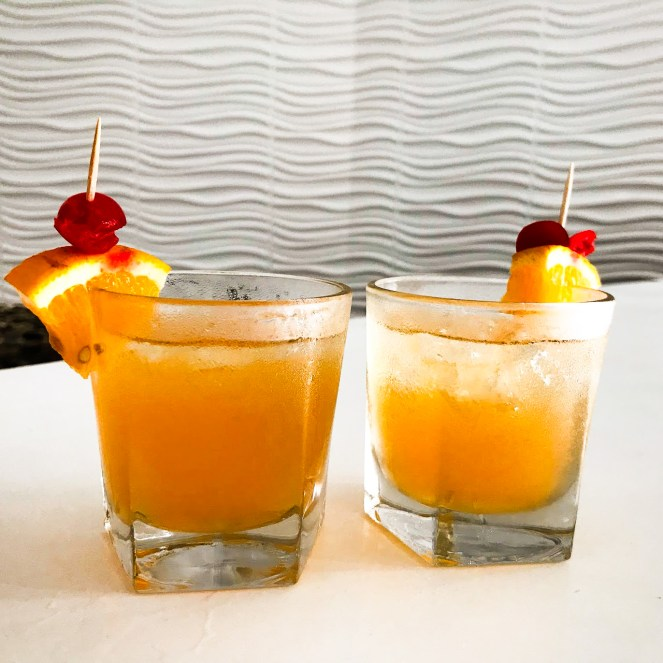 Two bright, fruity rum punches