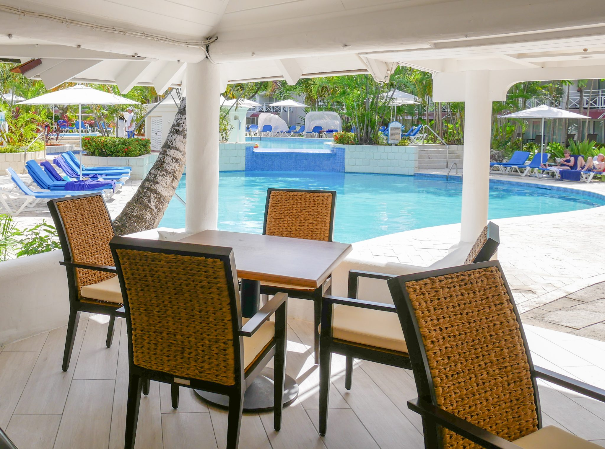 A view of the pool from the main lounge