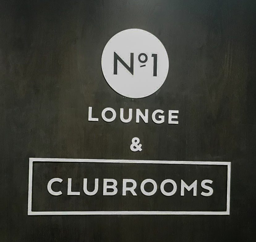 black No1 Lounge & Clubrooms sign at London Gatwick South Terminal