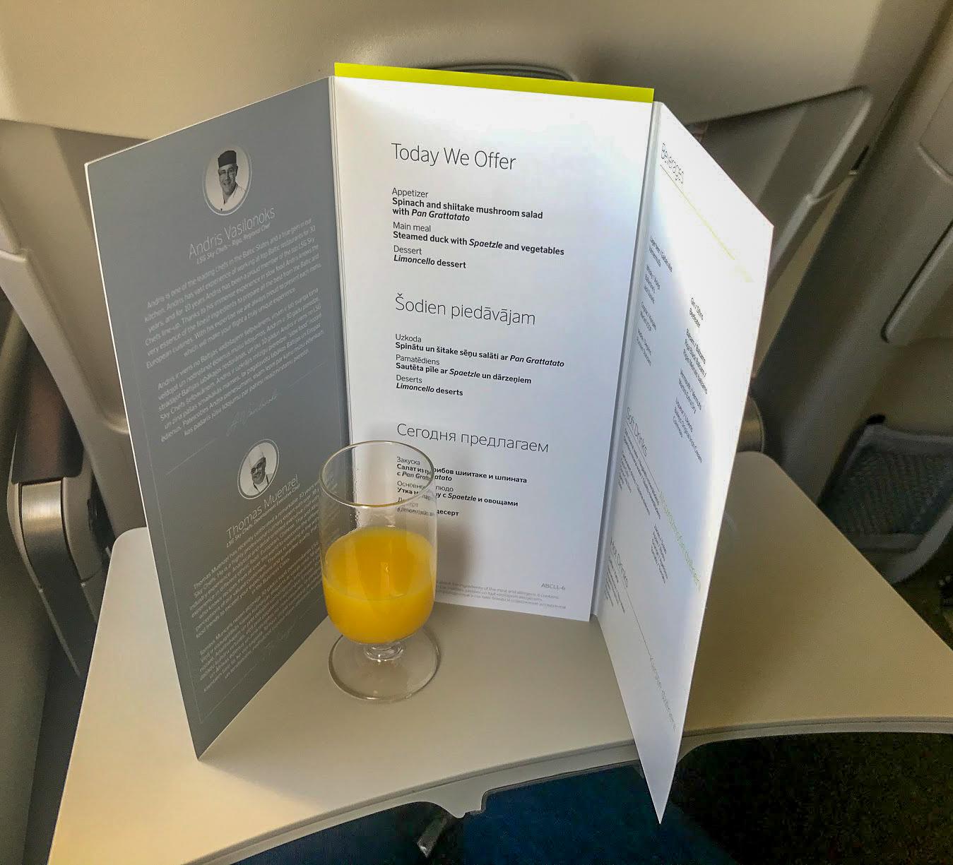 airBaltic A220-300 business class menu