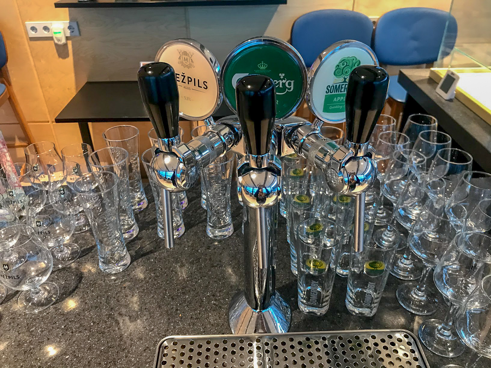 Beer tap in the Primeclass Business Lounge at Riga International Airport