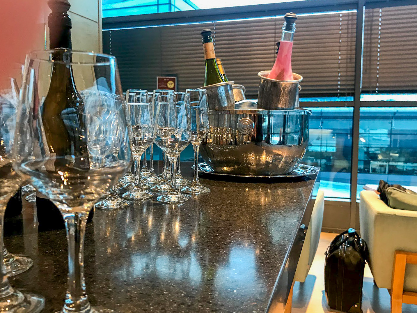 Sparkling wine in the Primeclass Business Lounge at Riga International Airport