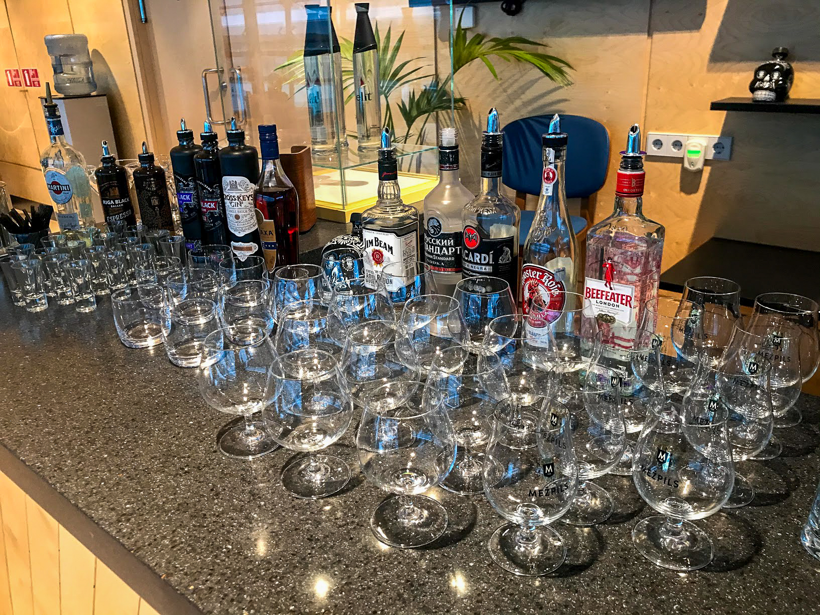 Spirits at the Primeclass Business Lounge at Riga International Airport